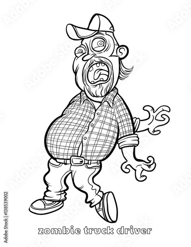 Funny Zombie Truck Driver Coloring Page Stock Image And Royalty