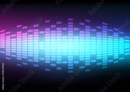 Abstract digital and music beats with light effect