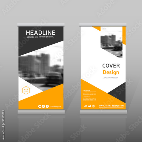 Orange Roll Up Business Brochure Template For Advertining Vertical