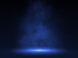 Empty scene with Blue spotlight and smoke - 3d rendering