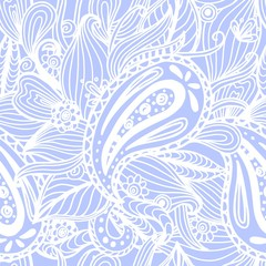 Beautiful hand drawn ornamental doodle light blue repeated background, seamless boho pattern. Vector illustration.