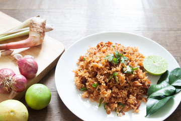 Thai food, Spicy traditional fried rice with herbs