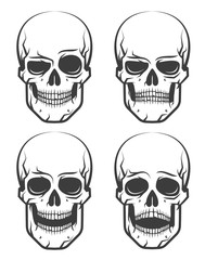 Monochrome skull tattoo set of emotions. Vector illustration on white background.