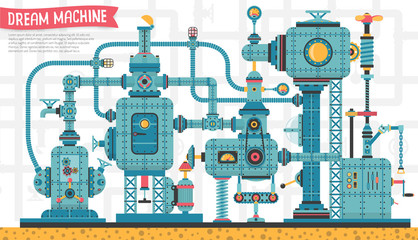 Big Fantastic intricate steampunk machine, with pipes, aggregates, valves, cables, devices and other components. It can be disassembled into individual components. Vector illustration.