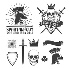 Retro hipster tattoo emblem. Spartan helmet, a dagger and a sunburst. Triangular shield, skull crown, ribbon and crossed swords. Vector illustration.