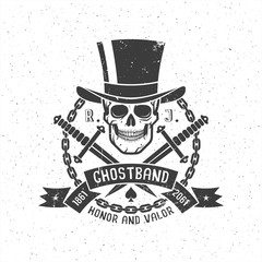 Hipster retro tattoo logo with skull in cylinder hat with daggers, ribbon and chain. Grunge texture on separate layers and can be disabled.