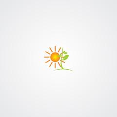 Sun and Tree Vector Illustration