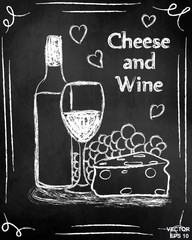 Wine and cheese. On the chalkboard. Snack. Celebration. Alcoholic drink.