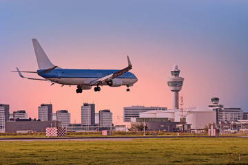 Airplane landing on Schiphol airport in Amsterdam the Netherlands