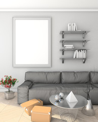 mock up poster on the wall in the modern interior with sofa. loft. 3D render