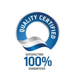 Quality Certified blue ribbon label logo icon