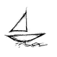 grunge symbol ship sailing on sea