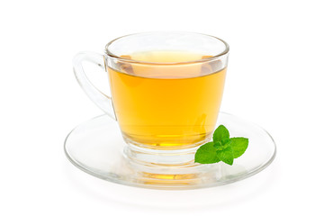 Healthy herbal mint tea in a glass cup isolated on white background, horizontal