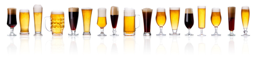 Canvas Prints Beer / Cider set of frosty glass of light beer with foam on white