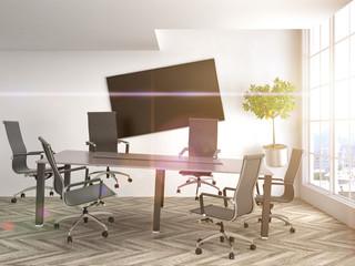 Zero Gravity in office interior. 3D Illustration