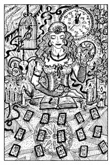 Fortune Teller with Tarot cards. Engraved fantasy illustration.  See all collection in my portfolio