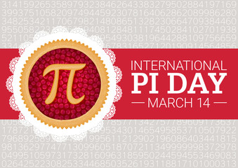 Pi Day vector background. Baked cherry pie with Pi Symbol and ribbon. Mathematical constant, irrational number, greek letter. Abstract digital illustration for March 14th. Poster creative template