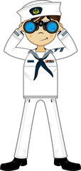 Cute Cartoon Navy Sailor with Binoculars