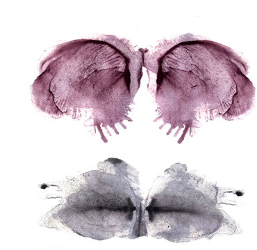 Artistic watercolor symmetric stains. Hand painted blots and drops, blobs. Design elements for creative books, cover, invitation, flyers
