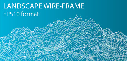 3D Wireframe Landscape. Vector