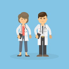 Male and female doctors. Isolated smiling doctors with stethoscope.