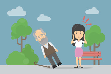 Heart attack symptoms. Old man with fainting. Worried woman.