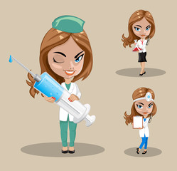 Woman doctor or nurse in a vector, Set of three female doctors in different poses, vector illustration