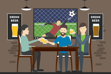 Men sit in pub and watch football match. Relaxing, having fun and drinking alcohol.