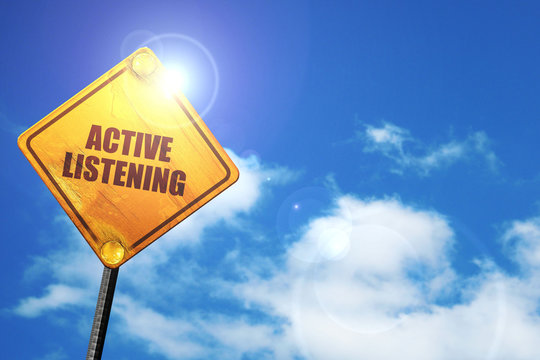 active listening, 3D rendering, traffic sign