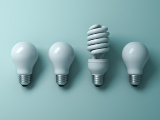 Energy saving light bulb , one compact fluorescent lightbulb standing out from unlit incandescent bulbs on green background , individuality and different creative idea concepts . 3D rendering.