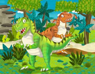 cartoon pair of dinosaurs tyranosauruses illustration for children