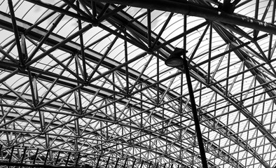 Abstract architecture part of steel structure roof. Black and white photography