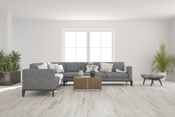 White room with sofa. Scandinavian interior design