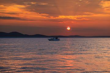 Sunset off the coast of Zadar in Croatia