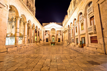 Split historic landmarks evening view of Peristil square