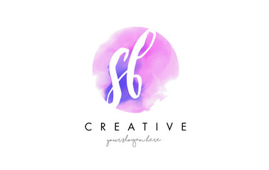 SB Watercolor Letter Logo Design with Purple Brush Stroke.