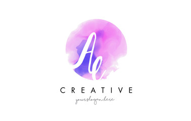 AE Watercolor Letter Logo Design with Purple Brush Stroke.