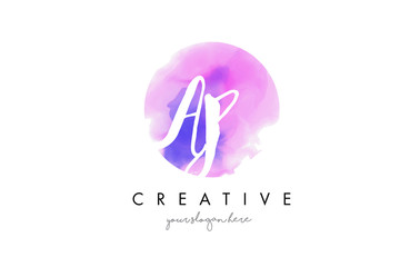 AP Watercolor Letter Logo Design with Purple Brush Stroke.