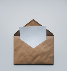 Clean sheet of paper in an envelope.