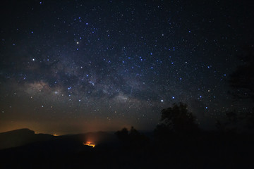 Milky Way Galaxy at Doi inthanon Chiang mai, Thailand.Long exposure photograph.With grain