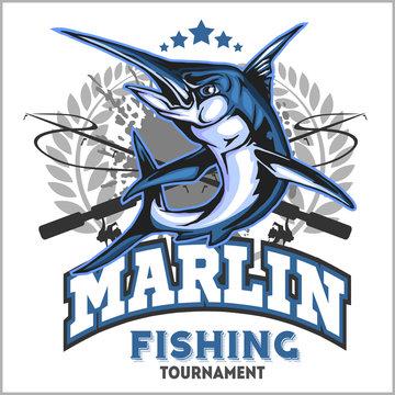 Blue marlin fishing logo illustration. Vector illustration.
