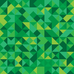 Vector illustration of a seamless pattern of simple triangles in shades of green of various shades
