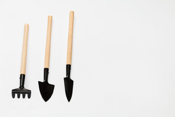 garden tools on white background