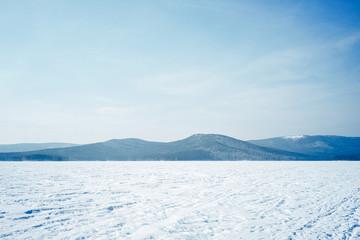 landscape of a frozen mountain lake