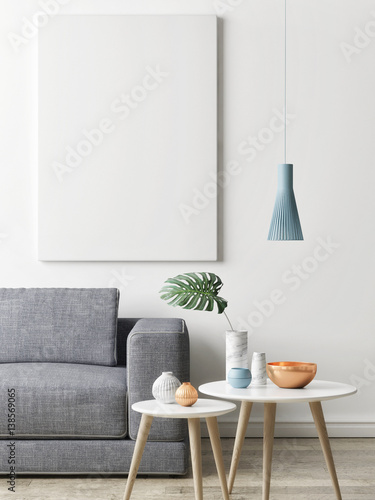 Living Room Background. Close up poster in hipster living room background  3d illustration render