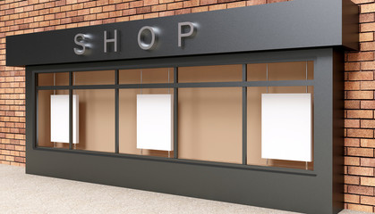 Blank mock up of store street showcase window in a city. 3D rendering
