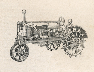 Tractor, vintage engraved illustration
