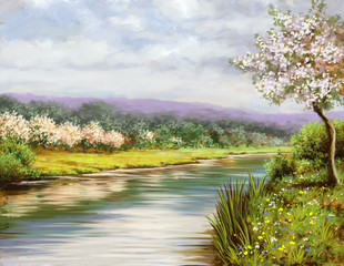 Spring, landscape paintings, river, art