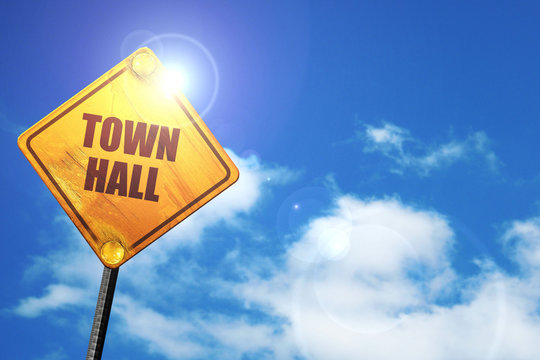 town hall, 3D rendering, traffic sign
