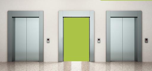 modern steel elevatore 3d rendering illustration